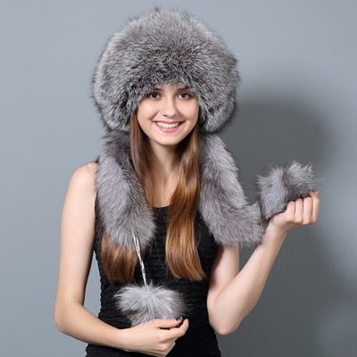 Jackie Russian Hat with Pom Poms in Gray