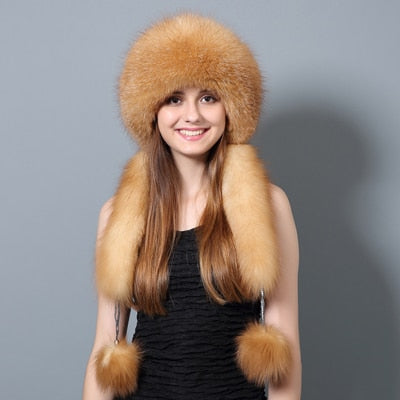 Jackie Russian Hat with Pom Poms in Tan