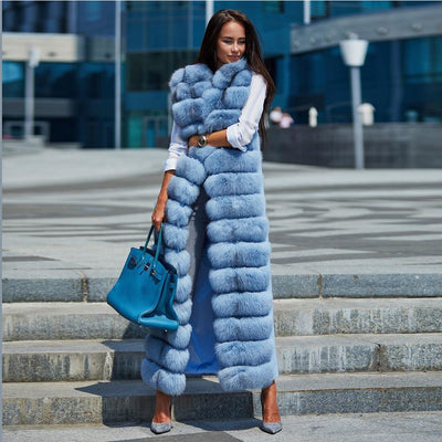 Sarah- Ladies Wool and Natural Fox Fur Sleeveless Coat