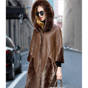 Londyn - Genuine Sheepskin and Fox Fur Coat - Brown