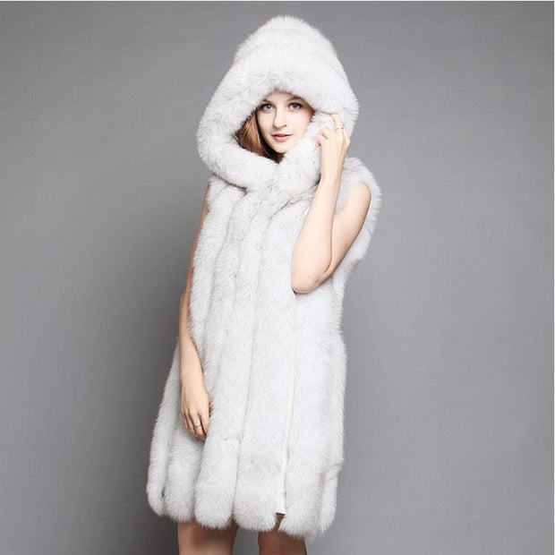 Alexia - Vertical Layered Fox Fur Vest