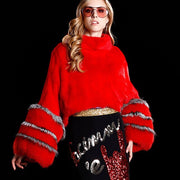 Samara - Mink Fur Poncho, Red