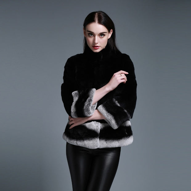 Maeve -  Rex Rabbit Fur Coat with Chinchilla Color Cuff and Hem