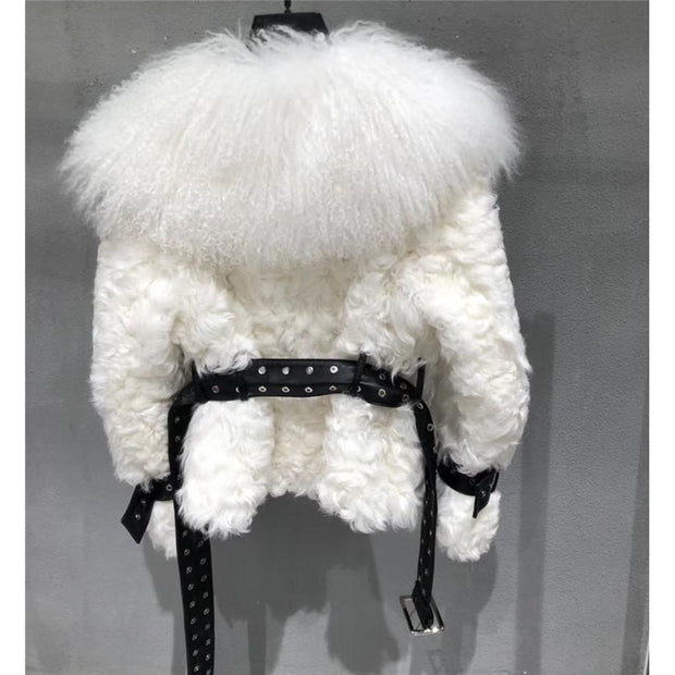 Genevieve - Mongolian Lamb Coat with Leather Belt