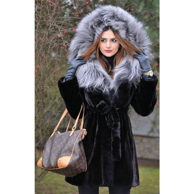 Valeria - Rex Rabbit Fur Coat with Silver Fox Fur Hood