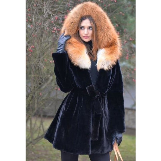 Valeria - Rex Rabbit Fur Coat with Red Fox Fur Hood