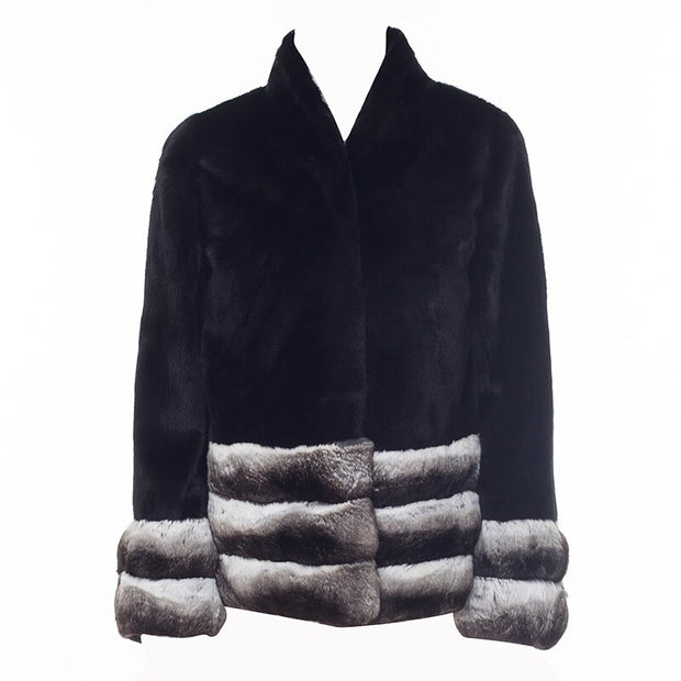 REESE - Mink Fur Coat with Chinchilla Fur Trim