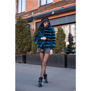 VUNIA - Rex Rabbit Fur in Chinchilla Print Coat