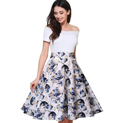 REGINA - White bodice and Floral bottom, Fit and Flare Dress