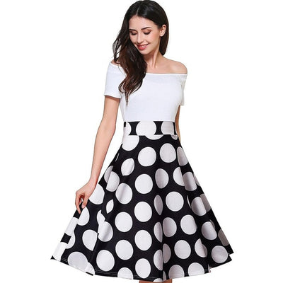 REGINA - White bodice and Polka Dot bottom Fit and Flare Dress