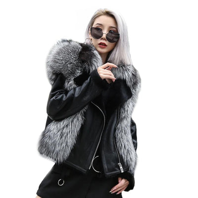 JENTRI - Genuine leather Coat with Fox Fur Trim