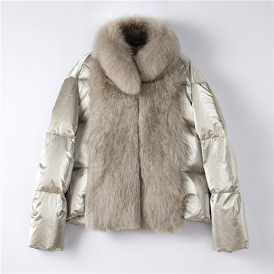 Quilla - Women's Down Filled Coat with Fox Fur Trim