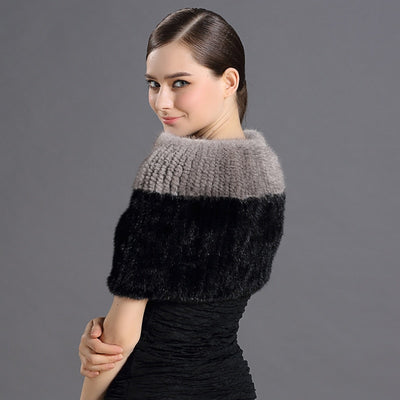 Mary Mink Gray and Black Fur Shoulder Shawl