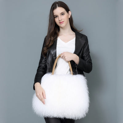 Ladies Mongolian Lamb Fur Handbag