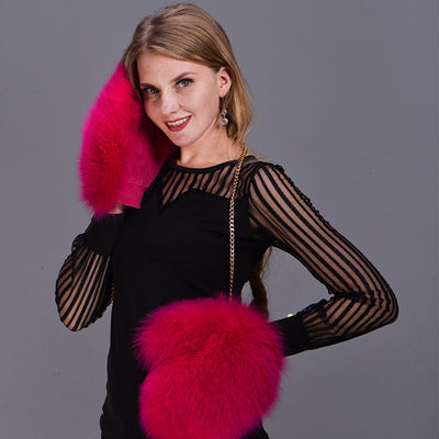 Ladies Thick Fox Fur Mittens