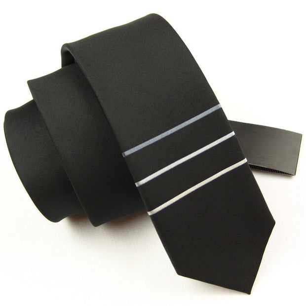 Modern Black, Light Blue and White Striped Tie