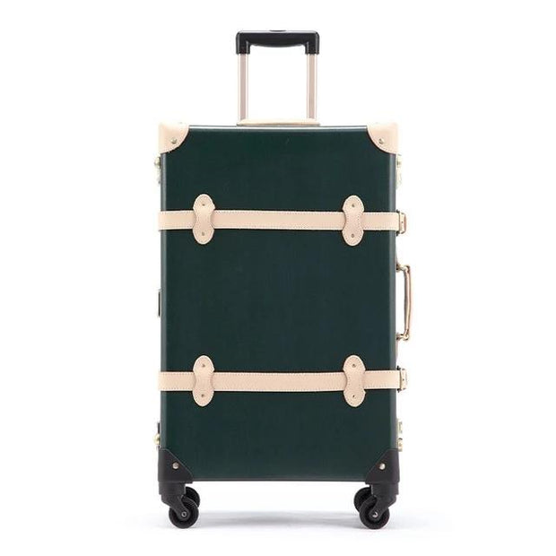 Genuine Leather Vintage Suitcase Dark Green - Limited Release!