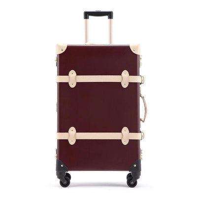 Genuine Leather Vintage Suitcase Red- Limited Release!