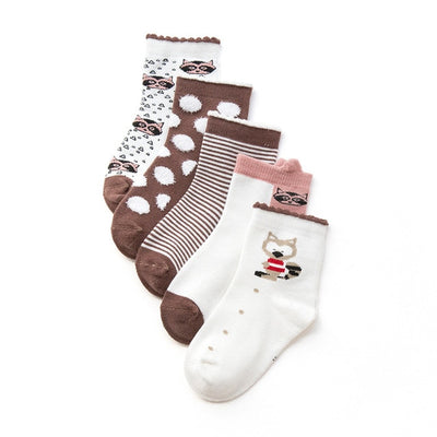 Children's Brown Themed Socks - 5 Pairs