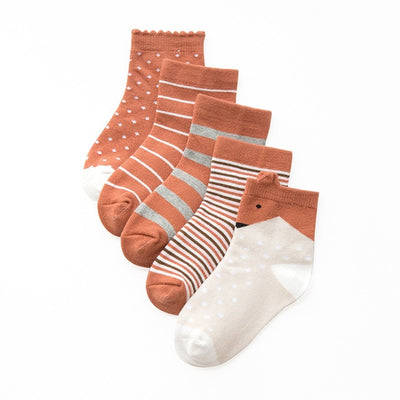 Children's Tan Themed Socks - 5 Pairs