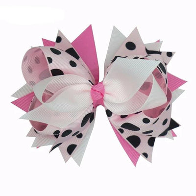 5.5 Inch Polka Dots Layered Ribbon Bows