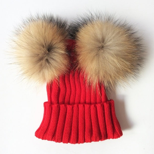 Children's Rib Knitted Double Natural Raccoon Pom Pom Hat