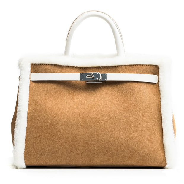 Ariel - Leather and Fur Tote, Carmel