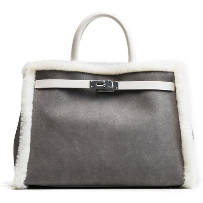 Ariel - Leather and Fur Tote, Gray