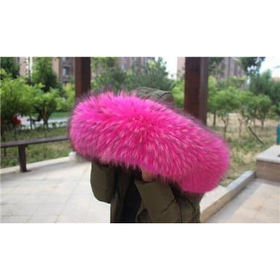 The Maya Natural Raccoon Dyed Pink Fur Oversized Collar