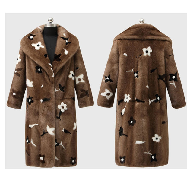 ALEXANDRIA - Imported Velvet Mink Fur Coat with Flower Print