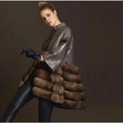 Remington - Genuine Leather and Sable Fur Coat