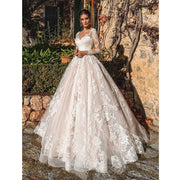 FLORA - Lace Applique Wedding Dress