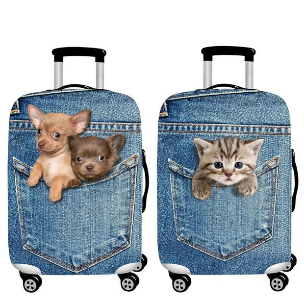 Puppies 3D Pattern Luggage Protection Cover - Luggage covers