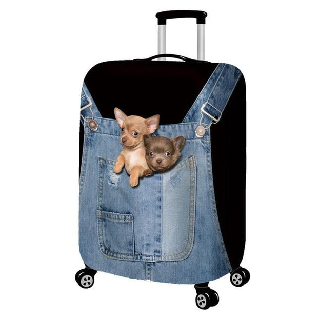 Puppies in Front Pocket 3D Pattern Luggage Protection Cover