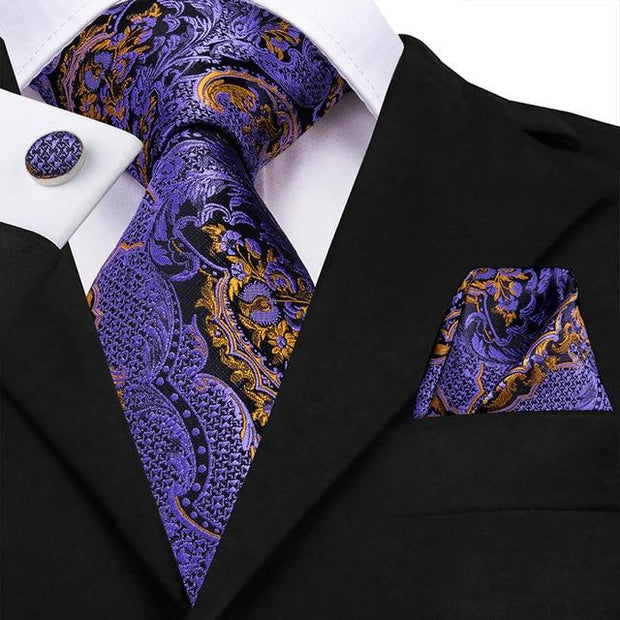 Purple Black and Gold Paisley Tie - Men's Ties