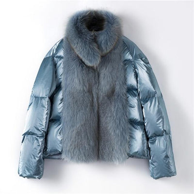 Quilla - Women's Down Filled Coat with Fox Fur Trim - blue /