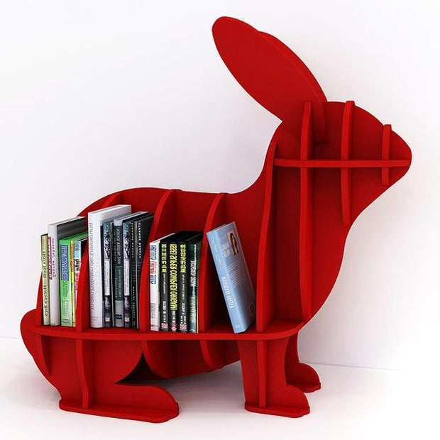 Rabbit Bookcase - Red - red-S - Decorative Objects