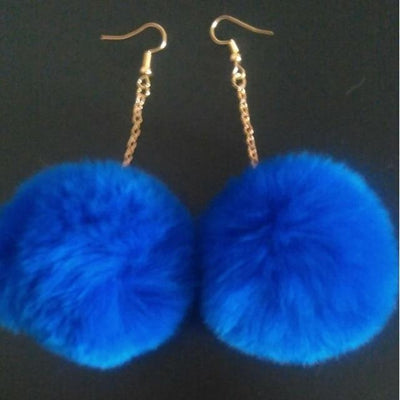 Rabbit Fur Drop Earrings - Dark Blue - Women's Earrings