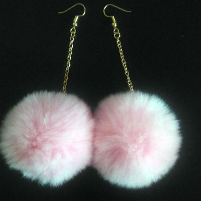 Rabbit Fur Drop Earrings - Pink - Women's Earrings