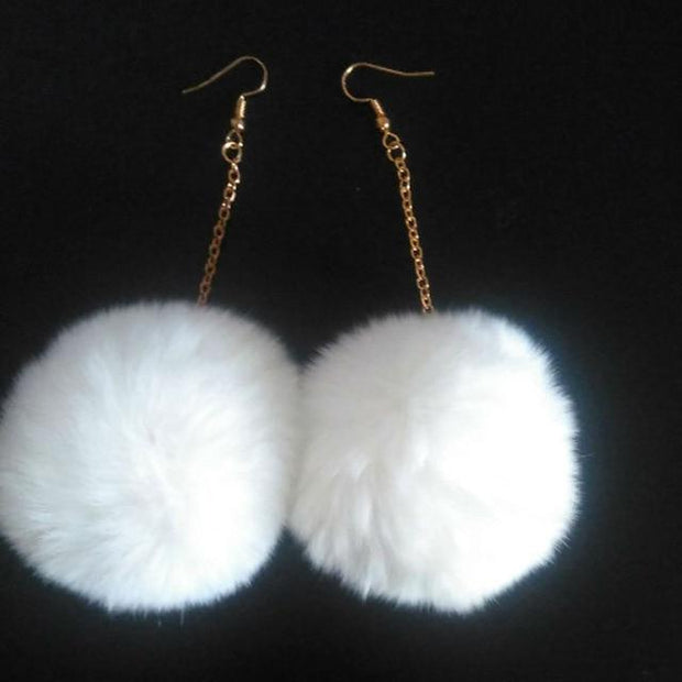Rabbit Fur Drop Earrings - White - Women's Earrings