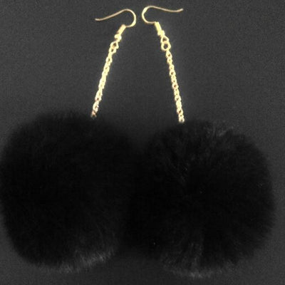 Rabbit Fur Drop Earrings - Women's Earrings
