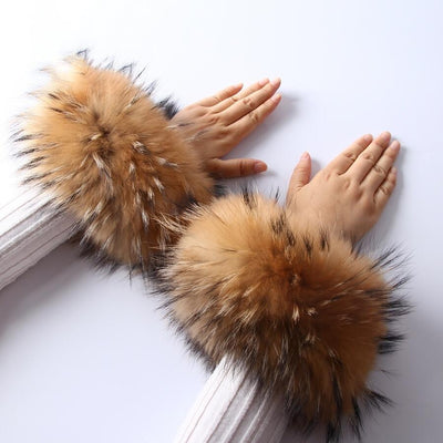 Raccoon Fur Cuffs Pair - Fur Cuffs