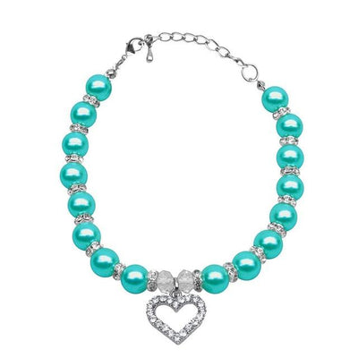 Rhinestone Pet Imitation Pearl Necklace - Green / L - Pet