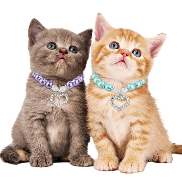 Rhinestone Pet Imitation Pearl Necklace - Pet Jewelry