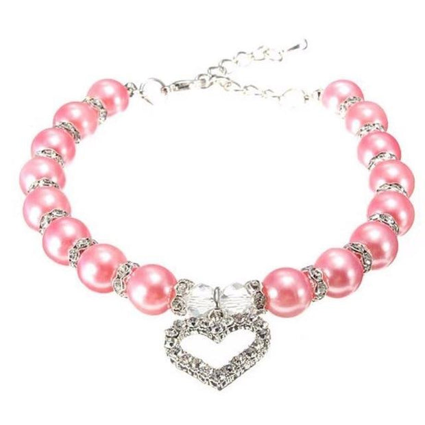 Rhinestone Pet Imitation Pearl Necklace - Pink / S - Pet