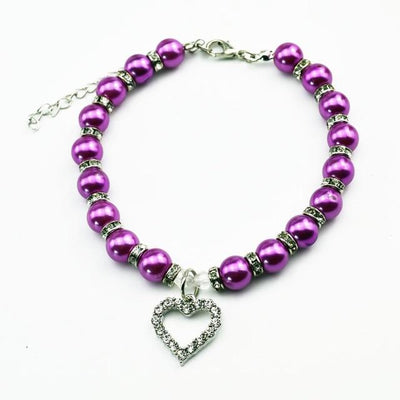 Rhinestone Pet Imitation Pearl Necklace - Purple / M - Pet