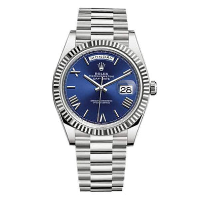 Rolex Day-Date 40 Stainless Blue Roman Dial - Men's watches