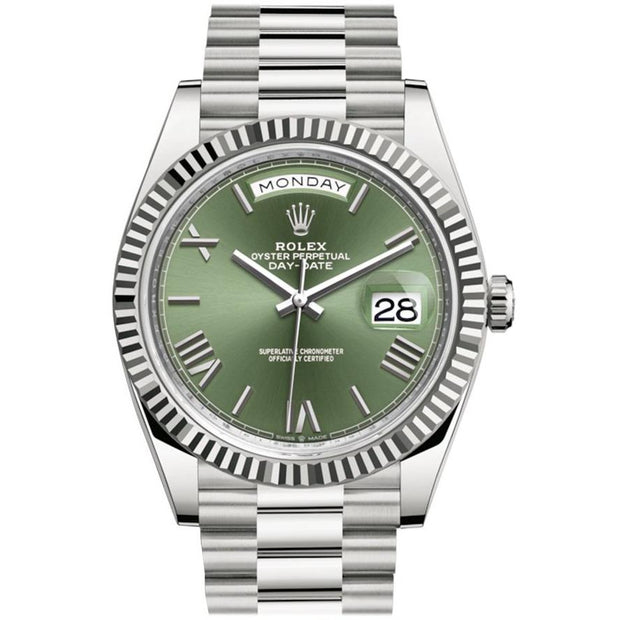 Rolex Day-Date 40 Stainless Steel Green Roman Dial - Men's