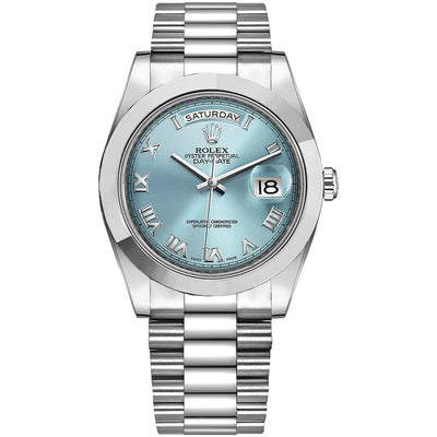 Rolex Day-Date 40 Stainless Steel Ice Blue Roman Dial -
