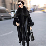 Rose - Genuine Leather and Raccoon Fur Coat Black - black /